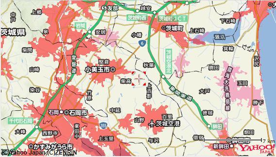 ソフトバンクエアーの対応エリア範囲の地図